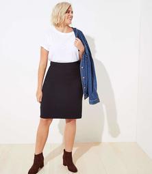 LOFT Plus Ribbed Pull On Pencil Skirt