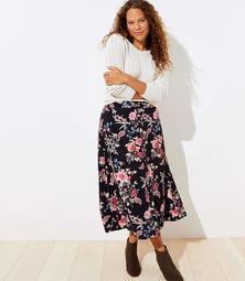 LOFT Plus Floral Button Front Midi Skirt
