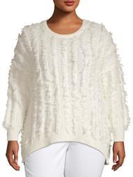 Concepts Women's Plus Size Hi Low Fringe Sweater