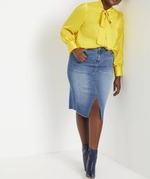 Eloquii Women's Plus Size Tie Neck Blouse
