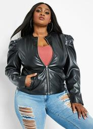Faux Leather Puff Sleeve Jacket
