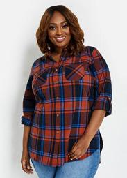 Plaid High-Low Button-Up
