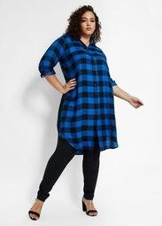Plaid Button-Up Tunic