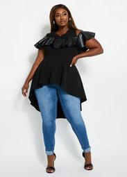 Faux Leather-Trimmed Cold-Shoulder Tunic