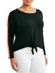 Women's Plus Size Knotted Front Top with Sleeve Taping