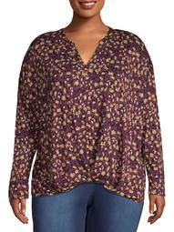 Women's Plus Size 3/4 Sleeve Drop Shoulder Blouse
