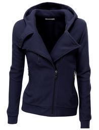 Doublju Women's Women's Fleece Casual Zip-Up High Neck Hoodie Jacket NAVY XL
