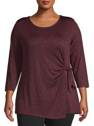 Women's Plus Size 3/4 Sleeve Top with Side Tie