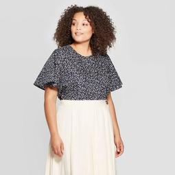Women's Plus Size Structured Bell Short Sleeve Scoop Neck Shirt - Who What Wear™ Blue 1X