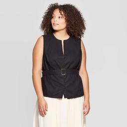 Women's Plus Size Sleeveless V-Neck Front Button-Down Belted Shirt - Who What Wear™ Black