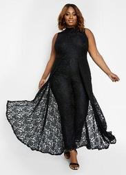 Tall Lace Cape Overlay Jumpsuit