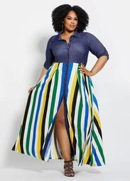 Chambray Trim Maxi Dress