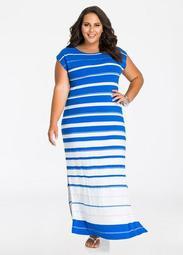 Shimmer Stripe Side Slit Maxi Dress