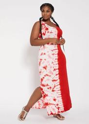 Tie-Dye Colorblock Maxi Dress