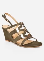 Cutout Wedge Sandal With Lucite - Wide Width