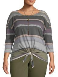 Tru Self Women's Plus Size Tye Dye Front Tie Long Sleeve Tee