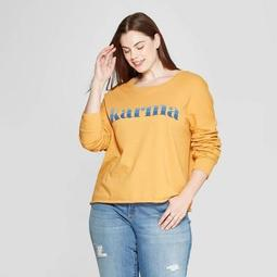 Women's Plus Size Crewneck Karma Graphic Sweatshirt - Zoe+Liv (Juniors') - Yellow