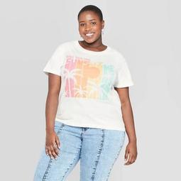 Women's Plus Size Short Sleeve Make Your Own Sunshine Graphic T-Shirt - Doe (Juniors') - White