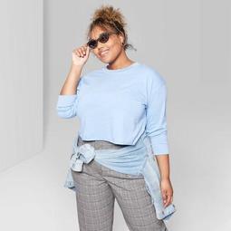 Women's Plus Size Long Sleeve Crewneck Boxy T-Shirt - Wild Fable™ Aegean Sea Blue