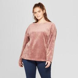 Women's Plus Size Velour Layering Sweatshirt - JoyLab™ Rose Taupe Pink