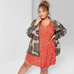 Women's Plus Size Camo Print Long Sleeve Full Zip Windbreaker Coat - Wild Fable™ Green