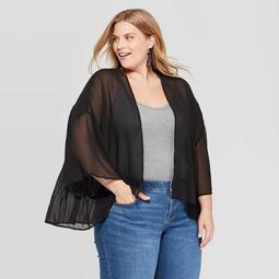 Women's Plus Size Woven Pleat Back Kimono - A New Day™ Black