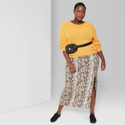 Women's Plus Size Rolled Crewneck Sweater - Wild Fable™ Beeswax