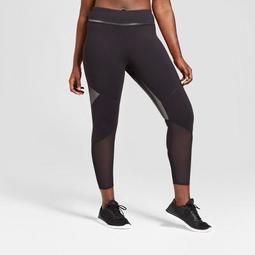 Women's Plus Size Mesh Shine Pieced Mid-Rise Leggings - JoyLab™ Black