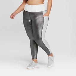 Women's Plus Size 7/8 High-Waisted Shine Leggings with Side Pockets - JoyLab™