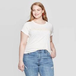 Women's Positivity Short Sleeve Plus Size Graphic T-Shirt - Grayson Threads (Juniors') Light Beige