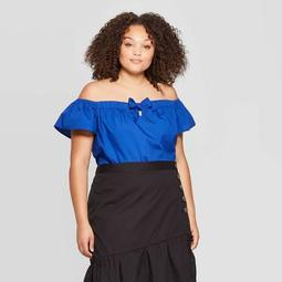 Women's Plus Size Off the Shoulder Short Sleeve Cropped Bardot Top - Who What Wear™