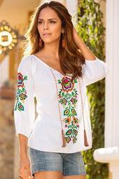 Colorful Embroidered Peasant Top