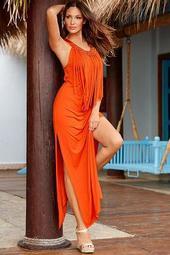 Beaded Fringe Maxi Dress
