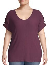 Women's Plus Size Rolled Up Short Sleeve with Tab