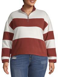 Derek Heart Juniors' Plus Size Half Zip Pullover Sweatshirt
