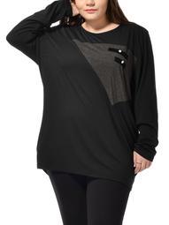 Women Plus Size Batwing Long Sleeves Leisure Tee Shirt Tunic Black