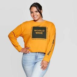 Women's World Wide Cropped Plus Size Long Sleeve T-Shirt - Mighty Fine (Juniors') - Mustard