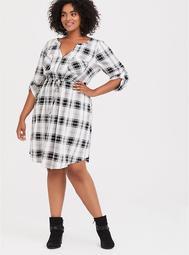 Black & Multi Plaid Drawstring Challis Shirt Dress