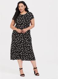 Black Leopard Jersey Midi Dress