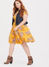 Mustard Yellow Button Front Shirt Dress