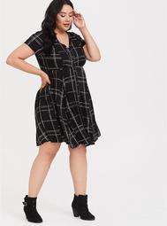 Black Chain-Link Grid Button Front Shirt Dress