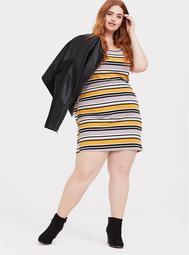 Yellow Multi Stripe Rib T-Shirt Dress