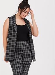 Black Plaid Self-Tie Cutaway Vest