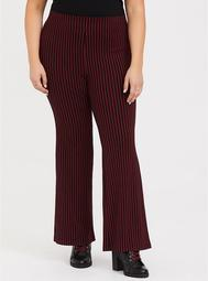 Red & Black Stripe Ponte Flare Pant