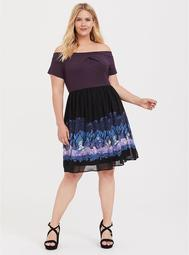 Her Universe Disney Alice In Wonderland Knit-to-Woven Off Shoulder Dress