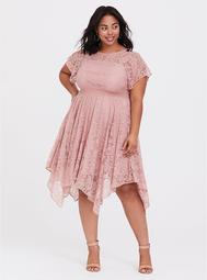 Dusty Pink Lace Flutter Sleeve Handkerchief Dress