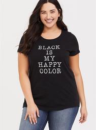 Black Happy Color Slim Fit Tee