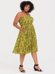 Neon Yellow Snakeskin Print Chiffon Midi Dress