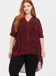 Lexie - Red Leopard Chiffon Tunic