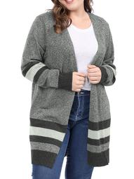 Unique Bargains Women's Plus Size Striped Sweater Cardigan (Size 4X) Black